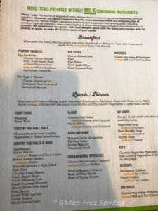 A picture of Cracker Barrel's milk-free menu