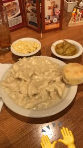 An image of Cracker Barrel's chicken & dumplings, mac & cheese, and fried apples.