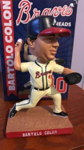 A picture of the Braves Bartolo Bobblehead.