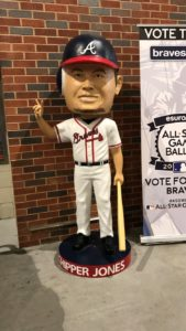 A giant Bobblehead of Chipper Jones.