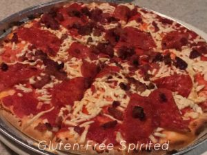 Gluten-free crust with pepperoni and bacon from Brixx Pizza.