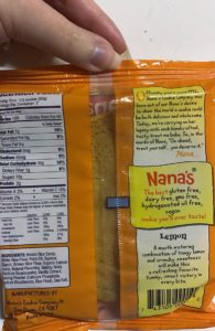 Nana's No Gluten Lemon Cookie packaging