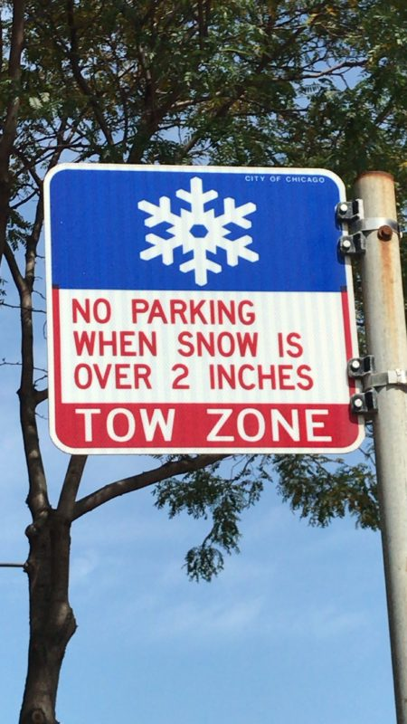 Chicago Tow Zone sign