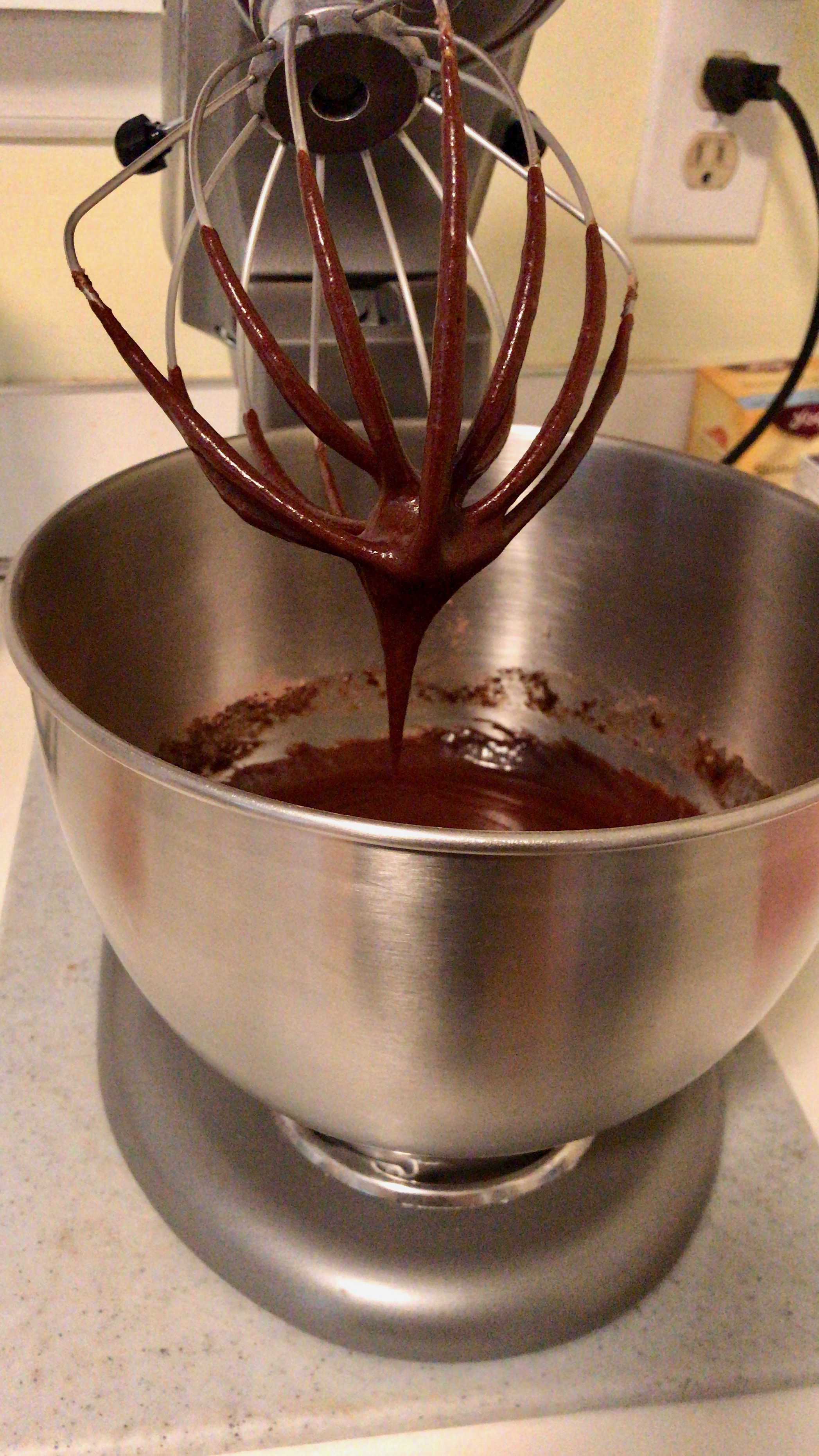 Brownie batter on a mixer