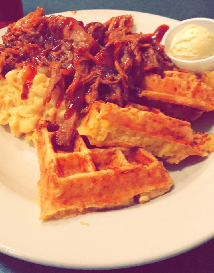 Pulled Pork, Mac & Cheese, and Cheddar Waffles