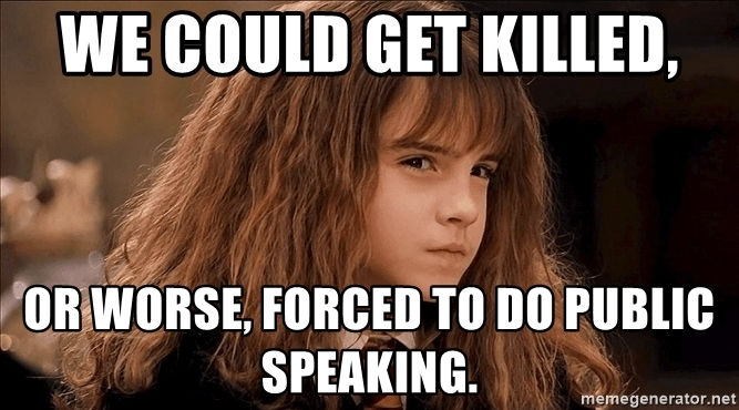 Hermione meme about public speaking