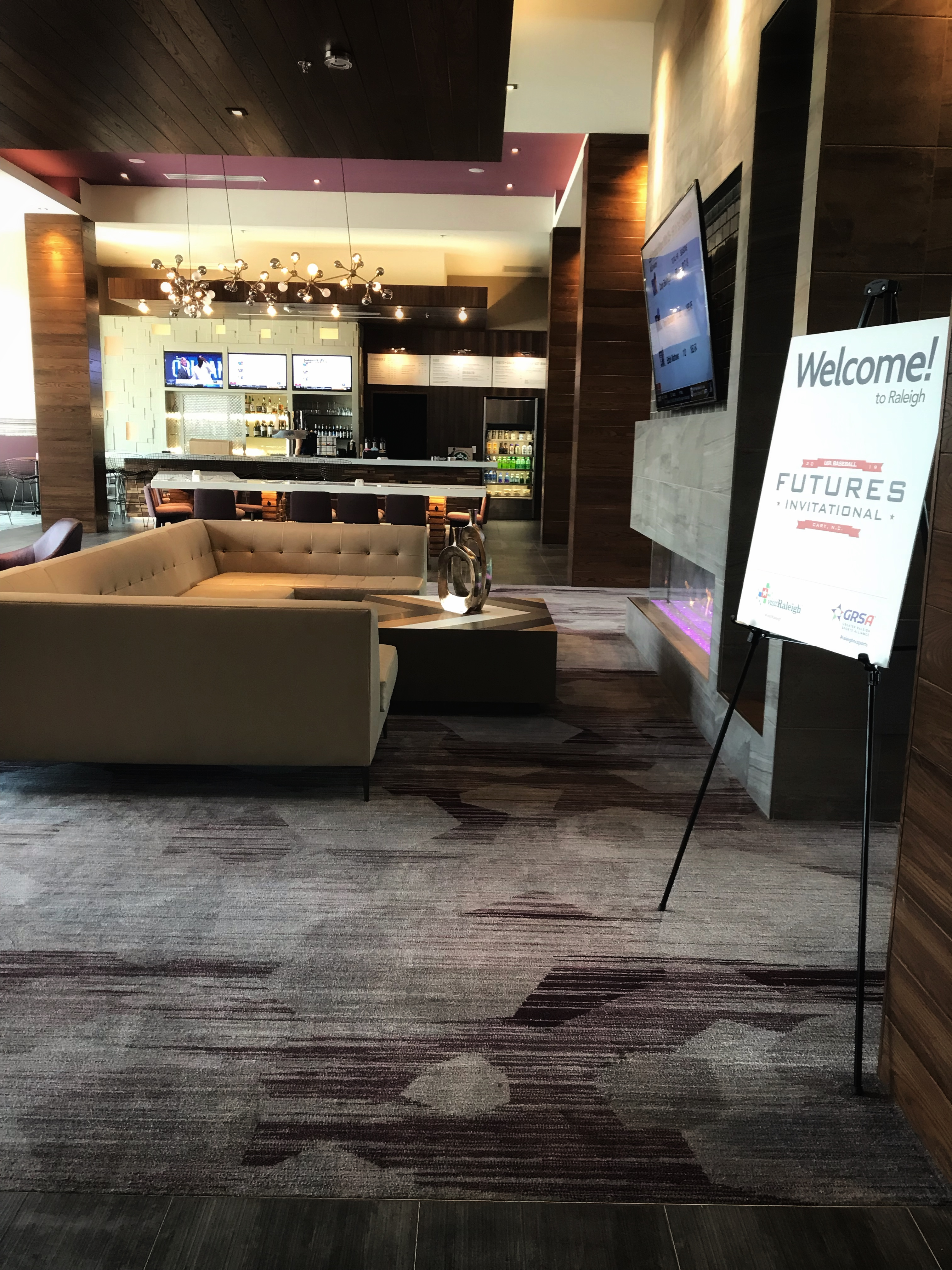 Hotel lobby at the Courtyard by Marriott